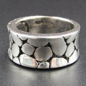 Size 6.75 Sterling Unique Thick Pattern Band Ring